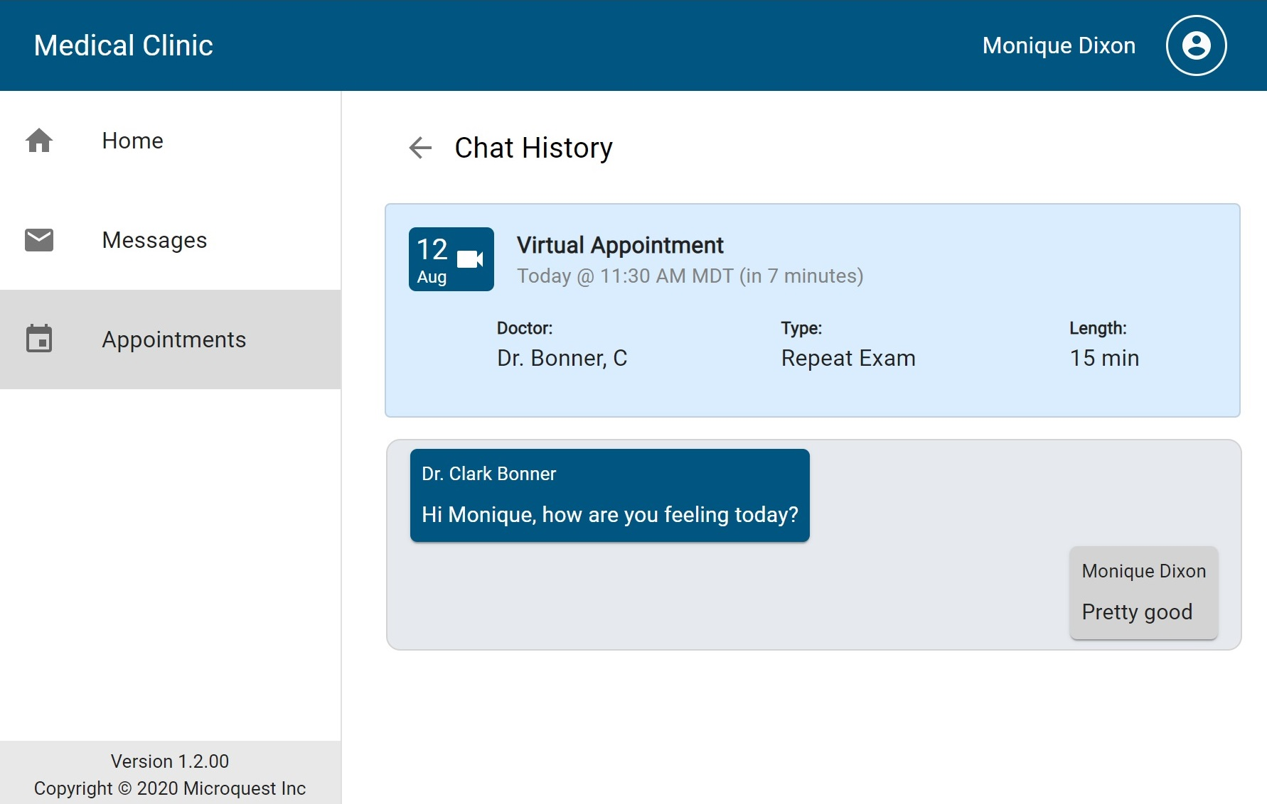 Past appointments with chat visible