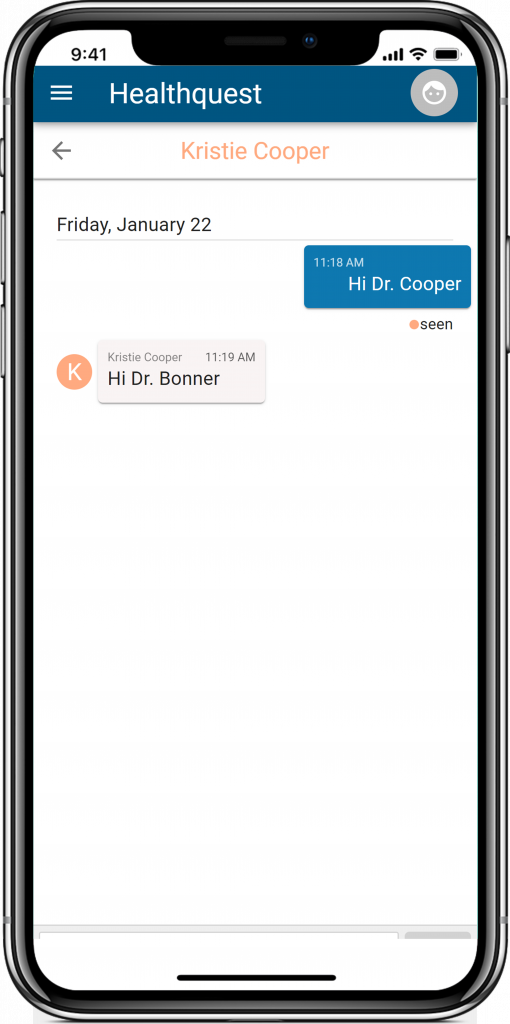 Image of the Instant Messaging section of the Healthquest Online App